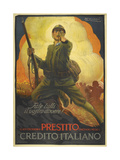 A Propaganda Poster Depicting an Italian () Soldier, Pointing Reproduction procédé giclée