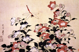 Katsushika Hokusai - Chinese Bell Flowers and a Happy Dragon-fly アート : 葛飾・北斎