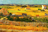 Vincent van Gogh Harvest at La Crau with Montmajour in the Background Poster by Vincent van Gogh