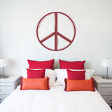 Line Peace Sign Red Wall Decal Adesivo de parede