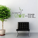 All Things Grow Quote Olive Wall Decal Adesivo de parede