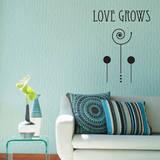 Love Grows Black Wall Decal Adesivo de parede