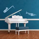 Trumpet & Saxophone Blue Wall Decal Adesivo de parede