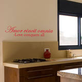 Love Conquers Quote Red Wall Decal Adesivo de parede
