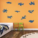 Fly Away Airplanes Genetian Wall Decal Adesivo de parede