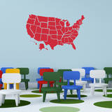 Red US Map Wall Decal Adesivo de parede