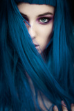 Young Adult Female with Bold Eye Shadow And Long Blue Hair Photographic Print by Josefine J??nsson