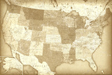 Vintage Style United States Map Poster Pôsters