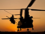 Two Royal Air Force CH-47 Chinooks Take Off from Headquarters in Afghanistan Photographic Print by Stocktrek Images