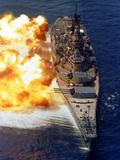 Battleship USS Iowa Firing Its Mark 7 16-inch/50-caliber Guns Photographic Print by Stocktrek Images