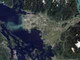 Satellite View of the Frasier River, British Columbia, Canada Fotografie-Druck von Stocktrek Images
