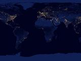 Flat Karte von Earth Showing City Lights of der Welt at Night Fotografie-Druck von Stocktrek Images