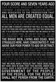 Gettysburg Address (Black) Text Poster
