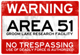 Area 51 Warning No Trespassing Sign Poster 高品質プリント