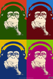 Steez Monkey Headphones Quad Pop-Art Poster Posters by  Steez
