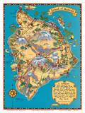 Hawaiian Island of Hawaii (Big Island) Map - Hawaii Tourist Bureau Plakat av Ruth Taylor White