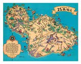 Hawaiian Island Of Maui - Hawaii Tourist Bureau Giclee-trykk av Ruth Taylor White