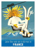 Join the Sun On A Ski Run in France Affiches par  Dubois