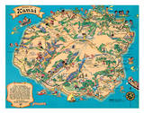 Hawaiian Island of Kauai Map - Hawaii Tourist Bureau Giclee-trykk av Ruth Taylor White