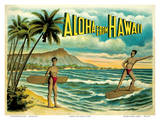 Aloha from Hawaii - Famous Surf Riders - Island Curio Co., Honolulu Plakater