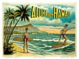 Aloha from Hawaii - Famous Surf Riders - Island Curio Co., Honolulu Posters