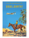 Fly to Australia by British Overseas Airways Corporation (BOAC) and Qantas Airlines Giclée-tryk af Frank Wootton