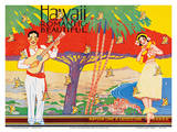 Matson Lines - Hawaii Romantic Beautiful - Art Deco Cover for Hawaiian Travel Brochure Pósters por W. Taylor