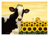Sunflower Cow Prints by Lowell Herrero