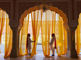 Palace Attendents, Chandra Mahal (City Palace), Jaipur, Rajasthan, India. Photographic Print by Peter Adams