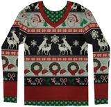 Long Sleeve: Ugly Frisky Deer Sweater Costume Tee Lange ærmer
