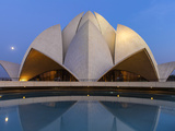 India, Delhi, New Delhi, Full Moon Over the Bahai House of Worship Know As the The Lotus Temple Photographic Print by Jane Sweeney
