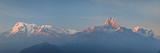 Nepal, Pokhara, Sarangkot, Panoramic View of Annapurna Himalaya Mountain Range Fotografie-Druck von Michele Falzone