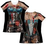 Womens: Corset Zombie Costume Tee Camisetas femininas com estampa sublimada