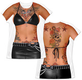 Womens: Black Leather & Tattoos Costume Tee T-shirtar med sublimeringtryck för damer