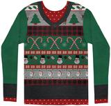 Long Sleeve: Ugly Xmas Sweater Costume Tee Mangas longas
