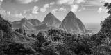 Caribbean, St Lucia, Petit and Gros Piton Mountains (UNESCO World Heritage Site) Bedruckte aufgespannte Leinwand von Alan Copson
