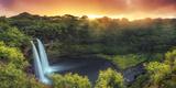 USA, Hawaii, Kauai, Wailua Falls 写真プリント : ミーケイレイ・フォールゾーン