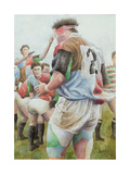 Rugby Match: Harlequins v Northampton, Brian Moore at the Line Out, 1992 Giclée-Druck von Gareth Lloyd Ball