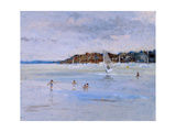 Windsurfer and Bathers Giclee Print by Christopher Glanville