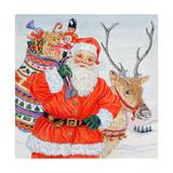 Father Christmas and His Reindeer Giclee Print by Catherine Bradbury