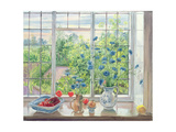 Cornflowers and Kitchen Garden Giclee Print by Timothy Easton