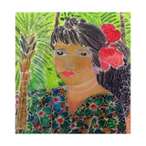 Lady with Hibiscus Giclee Print by Hilary Simon