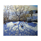 Large Tree and Tobogganers, Youlgreave, Derbyshire Giclee Print by Andrew Macara