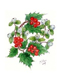 Mistletoe and Holly Wreath Stretched Canvas Print by Nell Hill