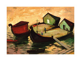 Fishing Barges on the River Sugovica Giclee Print by Emil Parrag