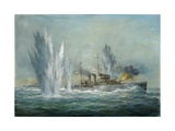 Hms Exeter Engaging in the Graf Spree at the Battle of the River Plate, 2009 Stampa giclée di Richard Willis