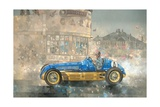 Blue and Yellow Maserati of Bira Giclee Print by Peter Miller