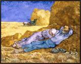 Descanso no meio do dia, após colheita, cerca de 1890 Impressão em tela emoldurada por Vincent van Gogh