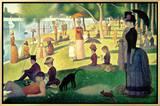 Tarde de Domingo na Ilha de Grande Jatte, c.1886 Impressão em tela emoldurada por Georges Seurat