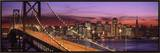 Bay Bridge Illuminated at Night, San Francisco, California, USA Framed Canvas Print